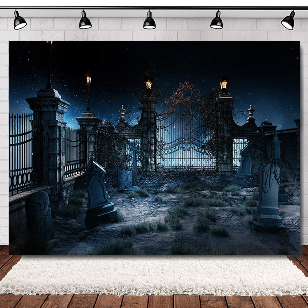 Allenjoy 7x5ft Graveyard Halloween Backdrops for Photography Halloween Cemetary Backdrop Scary Vinyl Halloween Party Backdrop Photo Booth Backdrop Halloween Backdrop for Pictures Props by Maijoeyy