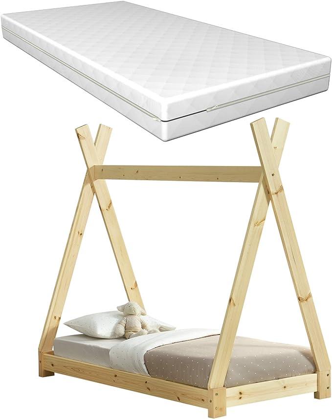 en.casa] Cama para niños con colchón Espuma fría 70 x 140 cm ...
