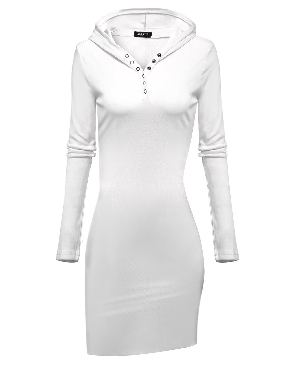ACEVOG Womens Long Sleeve Rib Cotton Knit Henley Neck Hooded Mini Dress