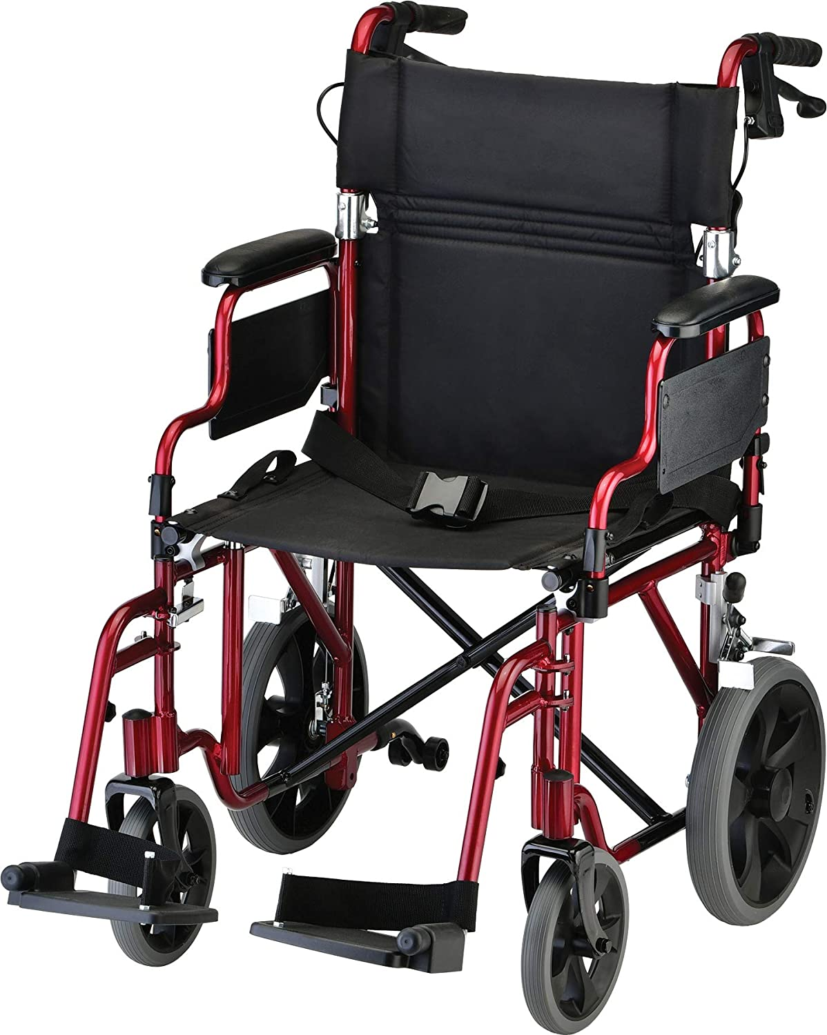 """NOVA Lightweight Transport Chair with Locking Hand Brakes, 12"""" Rear Wheels, Removable & Flip Up Arms for Easy Transfer, Anti-Tippers Included, Red: Health & Personal Care"""