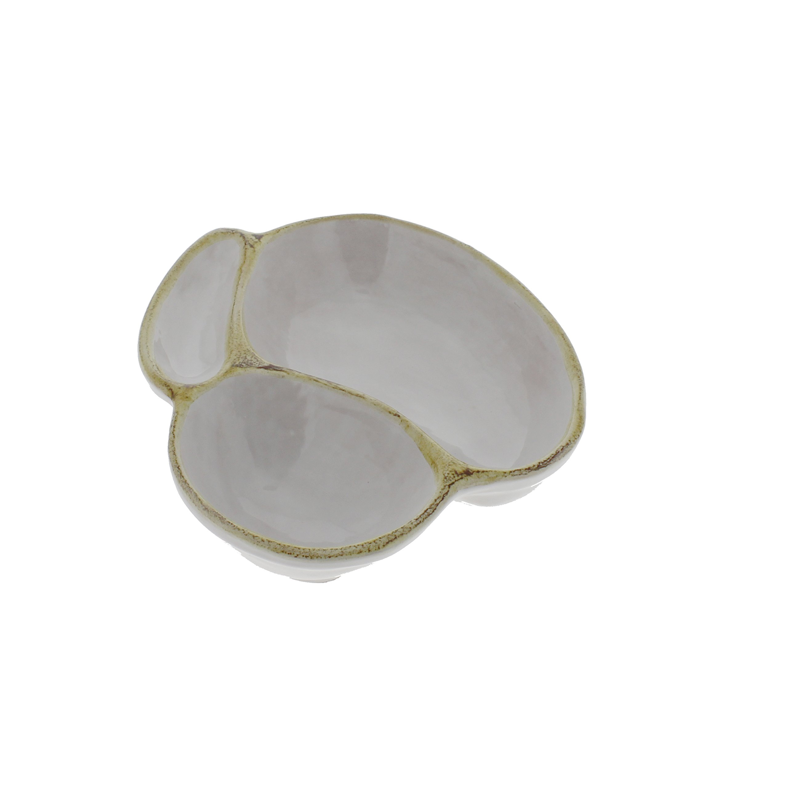 French Home 6-inch White Stoneware Olive Dish