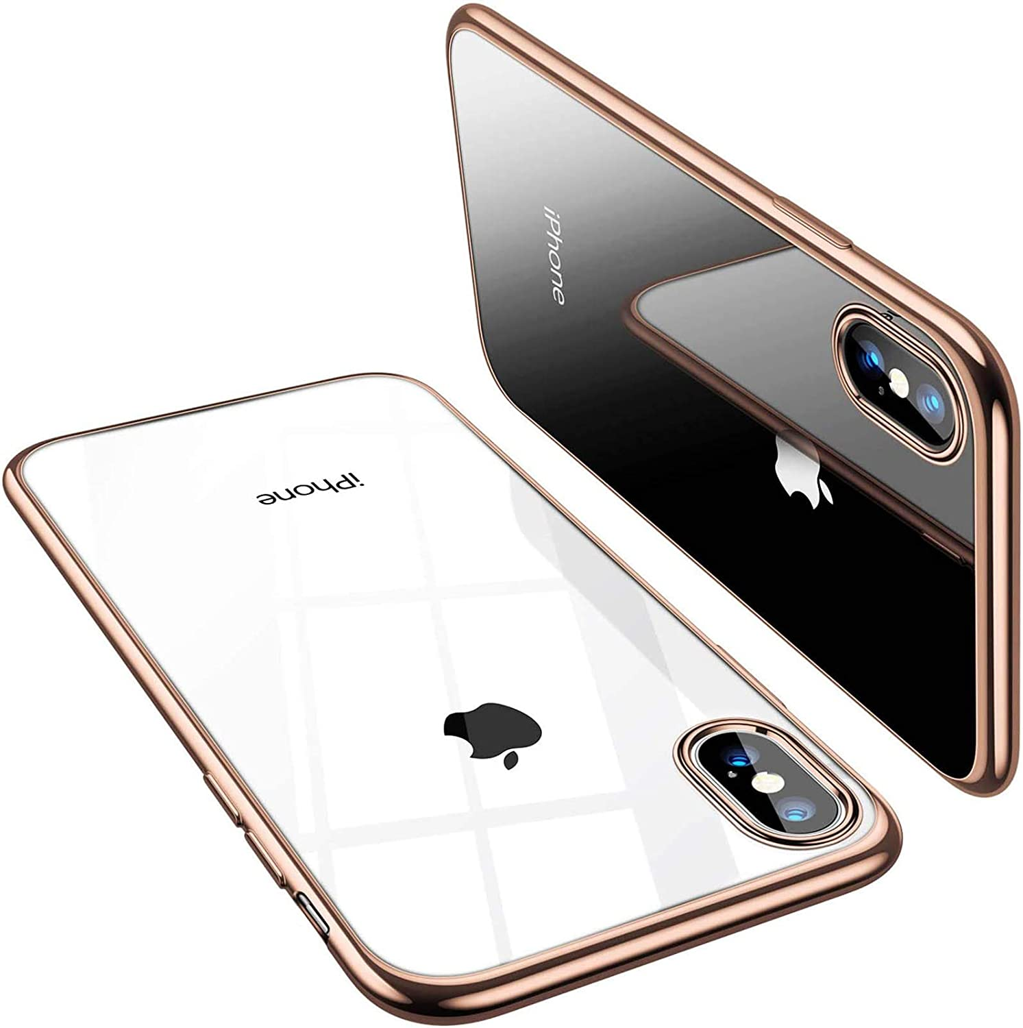 TORRAS Crystal Clear Compatible with iPhone Xs Max Case, [Anti-Yellowing] Soft Silicone Shockproof TPU Slim Thin Protective Phone Cover Case for iPhone Xs Max 6.5 inch- Gold