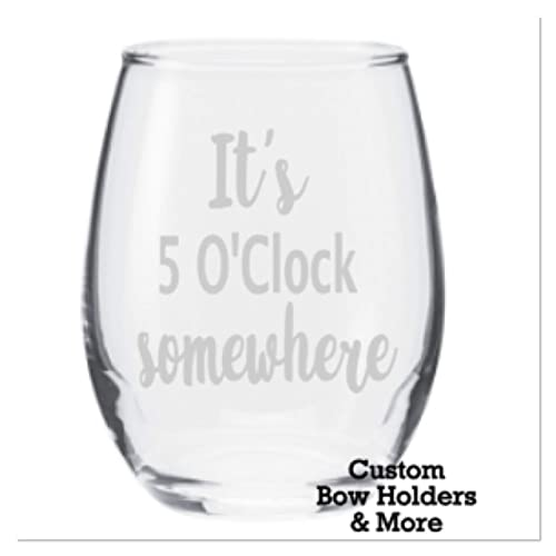 7e62c9798f9 Amazon.com: Engraved Wine Glass, Etched Stemless Wine Glass, IT'S 5 ...