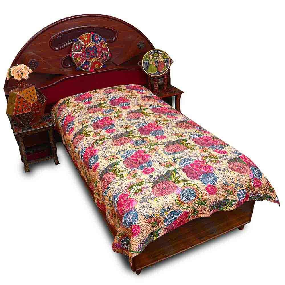 LittleインドRajasthani印刷Gujrati Katha Single Bedsheet 506 B00GU7B8S0