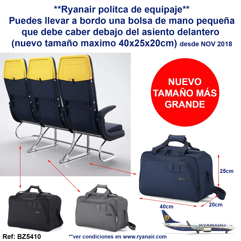 f27f6cef5 Benzi Bolsa de Viaje Azul 40 x 25 x 20 cm BZ5410 Tamaño Equipaje de Mano  Ryanair (Azul): Amazon.es: Equipaje