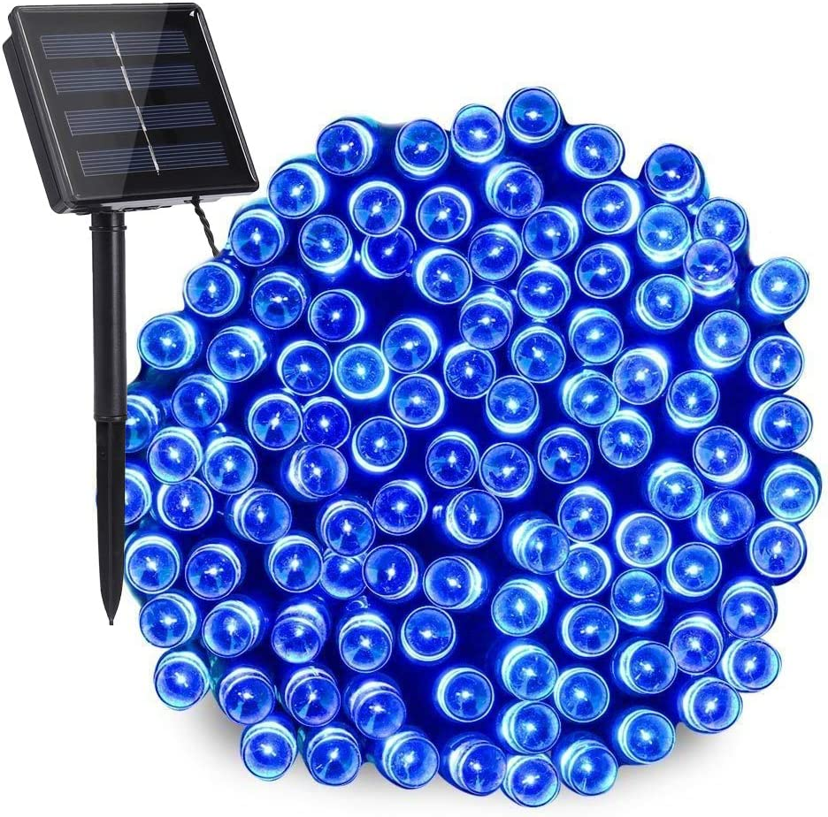 Toodour Solar Christmas Lights, 72ft 200 LED 8 Modes Outdoor Christmas String Lights, Waterproof Solar Fairy Lights for Christmas Tree, Fence, Holiday, Party, Balcony Decorations (Blue)