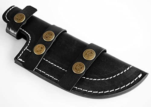 Whole Earth Supply Black Leather Tracker Sheath Fixed Blade Knife Hunting Skinning Blanks Knives