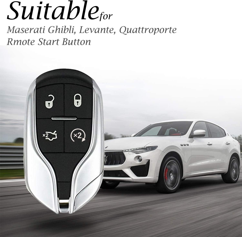 Levante Vitodeco Genuine Leather Keyless Smart Key Fob Case Cover with Key Chain for Maserati Ghibli Quattroporte Remote Start, Red