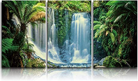 3 Piece Canvas Prints Wall Art Rainforest Waterfall Forest Pictures Paintings For Living Room Bedroom Green Stretched And Framed Ready To Hang For Wall Decor 16x20in X3 Panels Posters