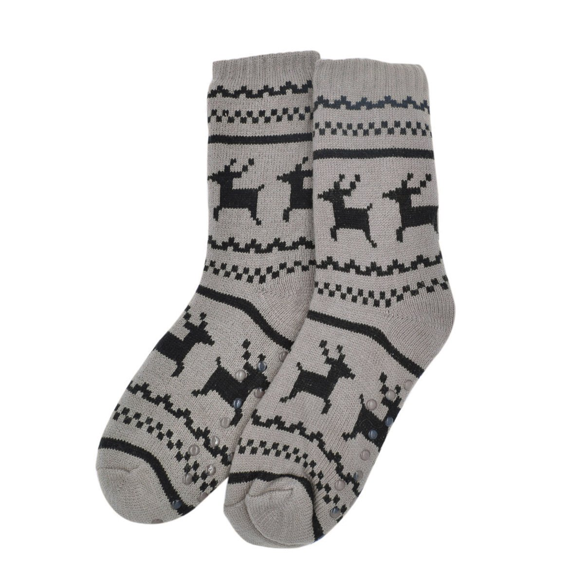 Extra Thick Reindeer Non-Skid Thermal Fleece-lined Knitted Plush Winter Socks Black SOG803-BLK