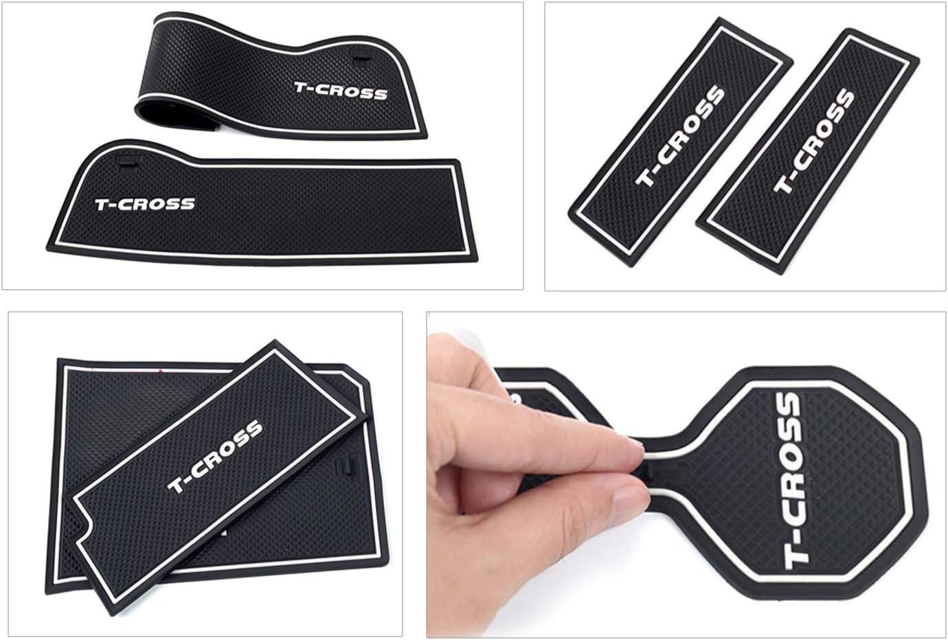 LFOTPP Non-Slip Mat for T-Cross Rubber Mat for Cup Holder Armrest Front Rear Door Pack of 13 White