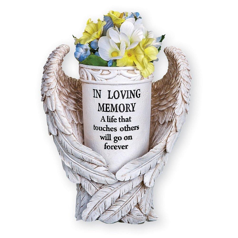 Collections Etc Angel Wings Memorial Vase Garden Decor Yard Stake, Beige