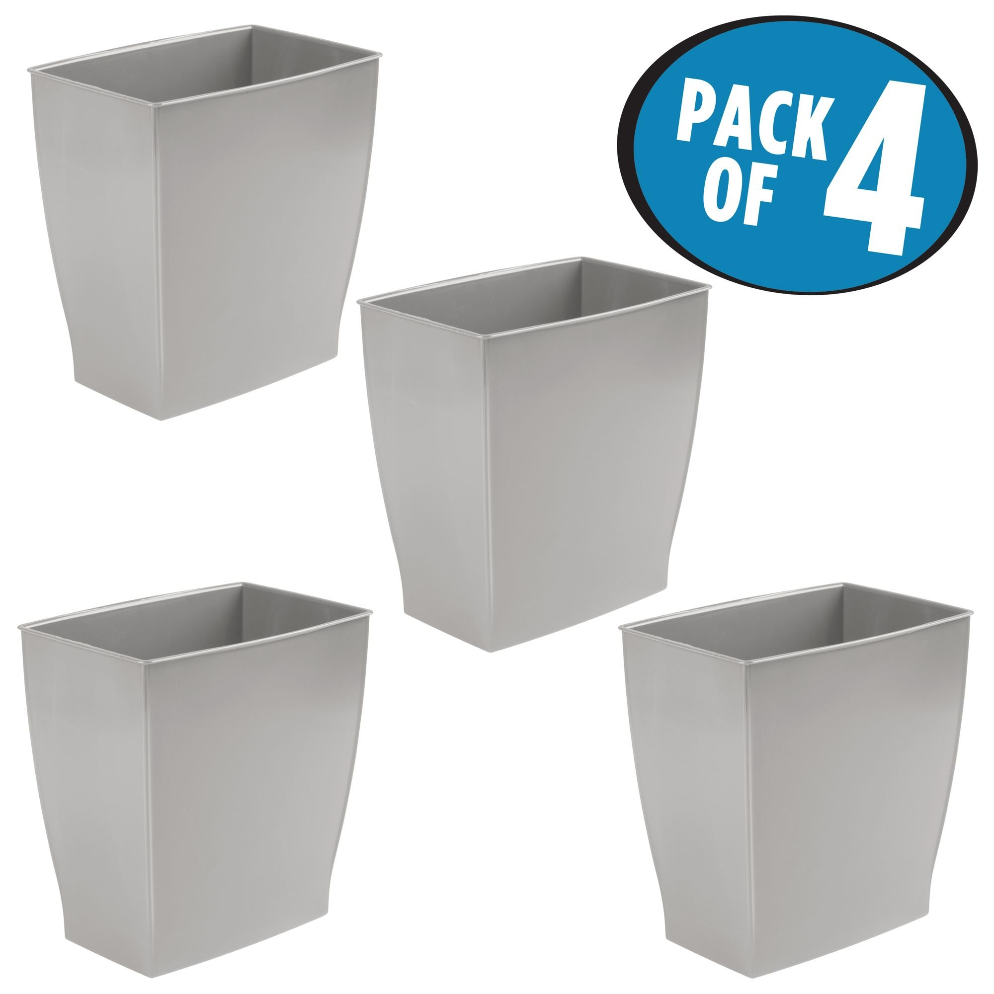 mDesign Rectangular Trash Can Wastebasket, Small Garbage Container Bin for Bathrooms, Powder Rooms, Kitchens, Home Offices and more - Pack of 4, Shatter-Resistant Plastic, Gray