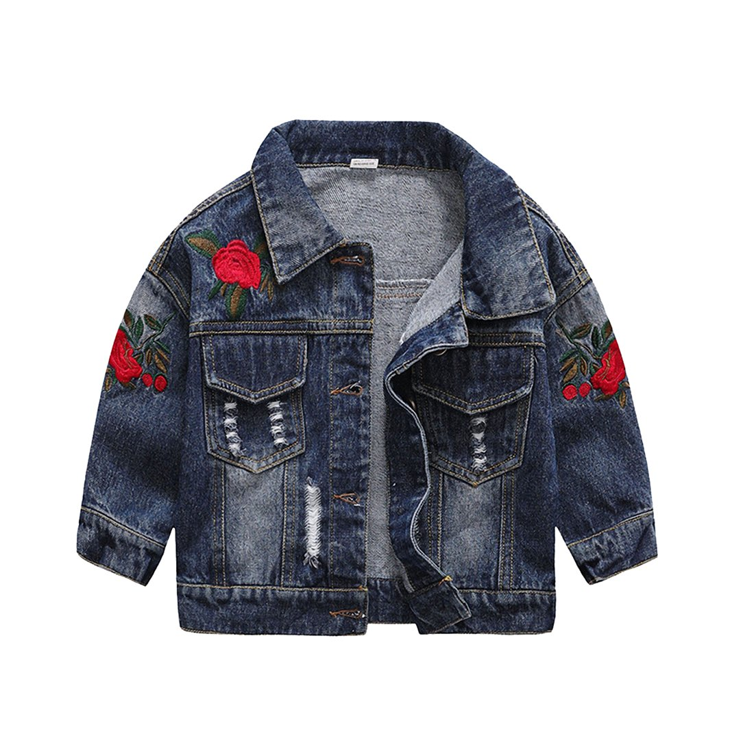 Chumhey Baby /& Little Girls Rose Embroidery Ripped Denim Jacket