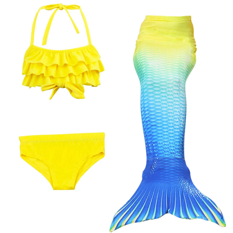 Backbuy Girls' Mermaid Tail Costume Swimsuit 3 Pieces Bikini Swimwear Set 110CM, 120CM, 130CM, 140CM(4-8 Years), Multicolor