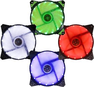 Suranus Kit 4 Ventiladores pc 120 mm LED Blanco Rojo Verde Azul su-c12025 F 3 + 4 Pines Set 4 x Ventilador Pack: Amazon.es: Electrónica
