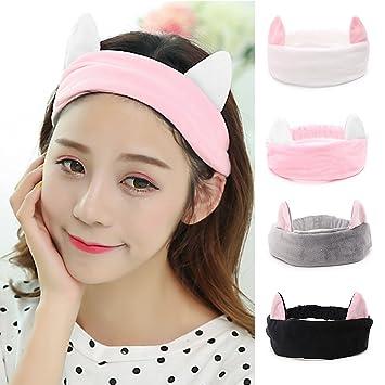 Women s Cat Ear Headband - 4 Packs VANZAVANZU Best Fashionable Cute Fluffy  Elastic Makeup Headband Hairband 4344e6a4fd9