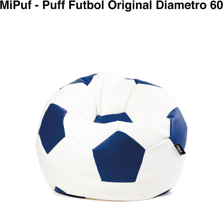 MiPuf - Puff Futbol Original - 60cm diámetro - Tejido Polipiel Alta Resistencia - Doble Cremallera - Relleno Incluido - Azul Marino y Blanco - 4 años de Garantía: Amazon.es: Hogar