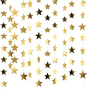 Patelai 130 Feet Golden Glitter Star Paper Garland Hanging Decoration for Wedding Birthday Christmas Festival Party (Set of A, Gold)