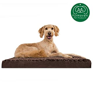 Furhaven Pet Dog Bed | Deluxe Memory Foam Mat Ultra Plush Faux Fur Traditional Foam Mattress Pet Bed w/ Removable Cover for Dogs & Cats, Chocolate, Large