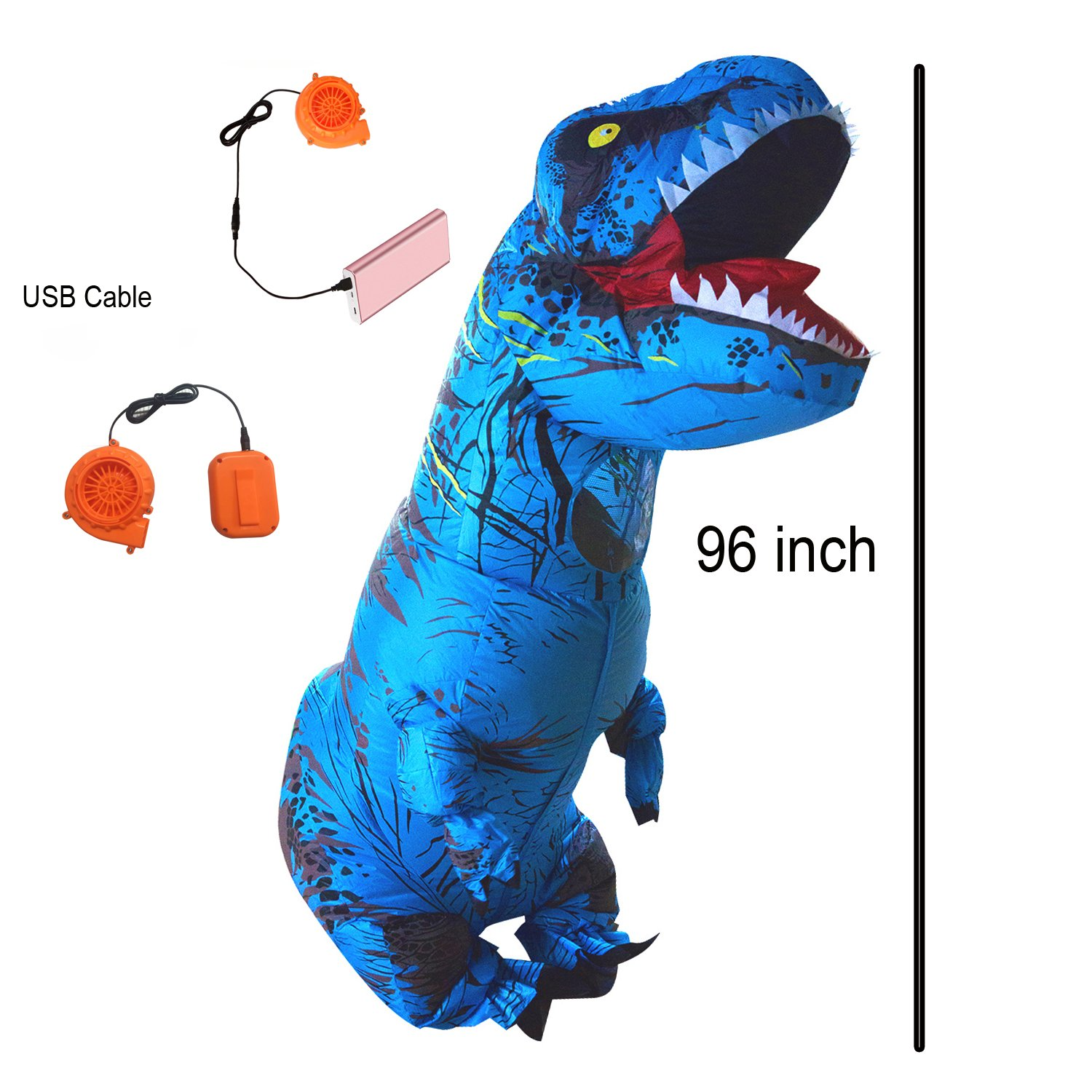 Halloween adulto inflable T Rex Dinosaur Partido traje Funny Dress Azul con mochila y cable USB
