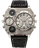 ShoppeWatch Mens Oversized Wrist Watch Dual Time Display Quartz Black Leather Band White Dial OM-215
