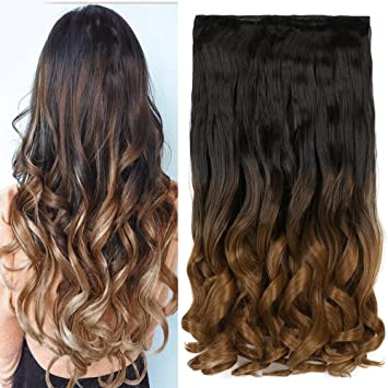 Amazon neverland beauty 24synthetic curly two tone ombre neverland beauty 24quotsynthetic curly two tone ombre hairpiece hair extensions 34 full pmusecretfo Images