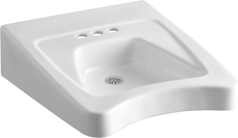 KOHLER K-12636-0 Morningside Wheelchair Bathroom Sink, 4-Inch Centers, White