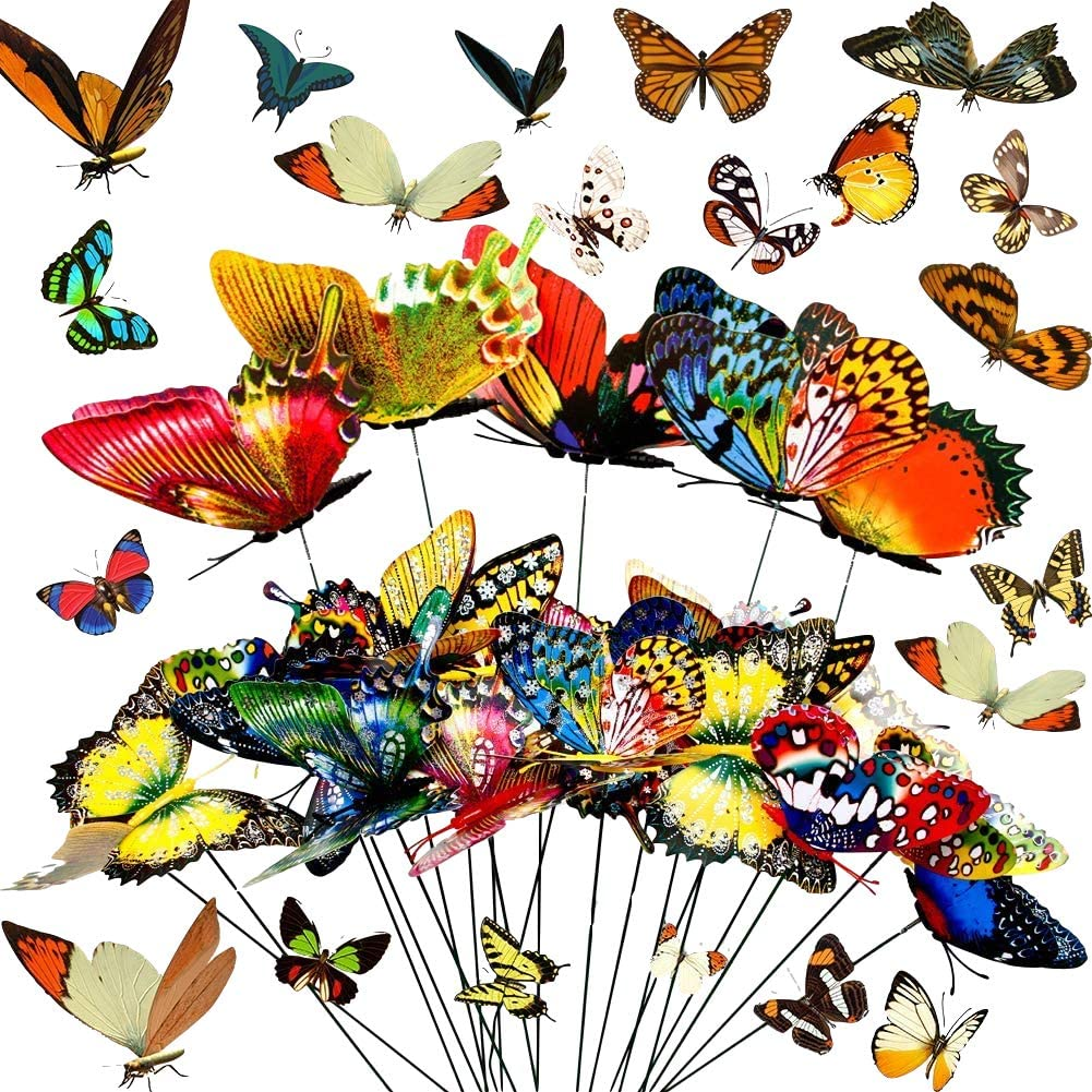 60 PCS Butterfly Stakes and Dragonfly Stakes Garden Ornaments Stakes, 11.75 inches Waterproof Butterfly Garden Decorations for Indoor,Outdoor Yard, Patio Plant Pot, Christmas Decoration