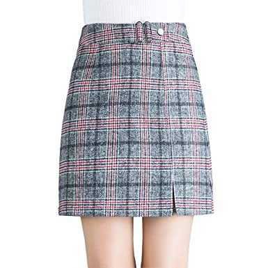 Wincolor Women s Wool Blend A-line Plaid Checked Mini Tartan Skirt High  Waisted Short Straight Tube Skirts at Amazon Women s Clothing store  898872592