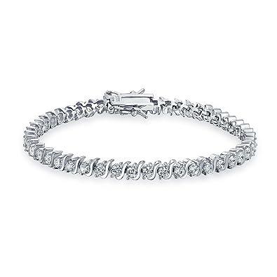 Bling Jewelry CZ Wave Classic Bracciale Tennis Argento 925