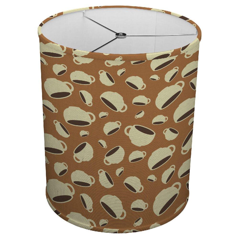 Hardback Linen Drum Cylinder Lamp Shade 8'' x 8'' x 8'' Spider Construction [ Coffee Cup Love Mug ]
