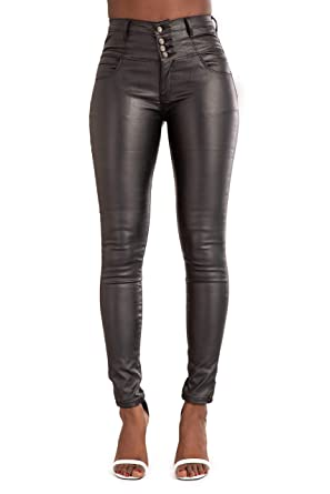 how to orders authorized site hot-selling latest Crazy Lover Women HIGH Waist Black Leather Look Jeans Slim FIT Trousers  Size 6-14
