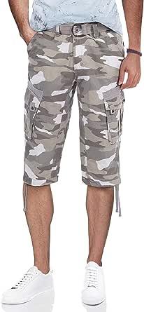 Herren Slim Sporthose Bermuda Combat Cargo Capri Shorts Militär Hosen Kurzehose