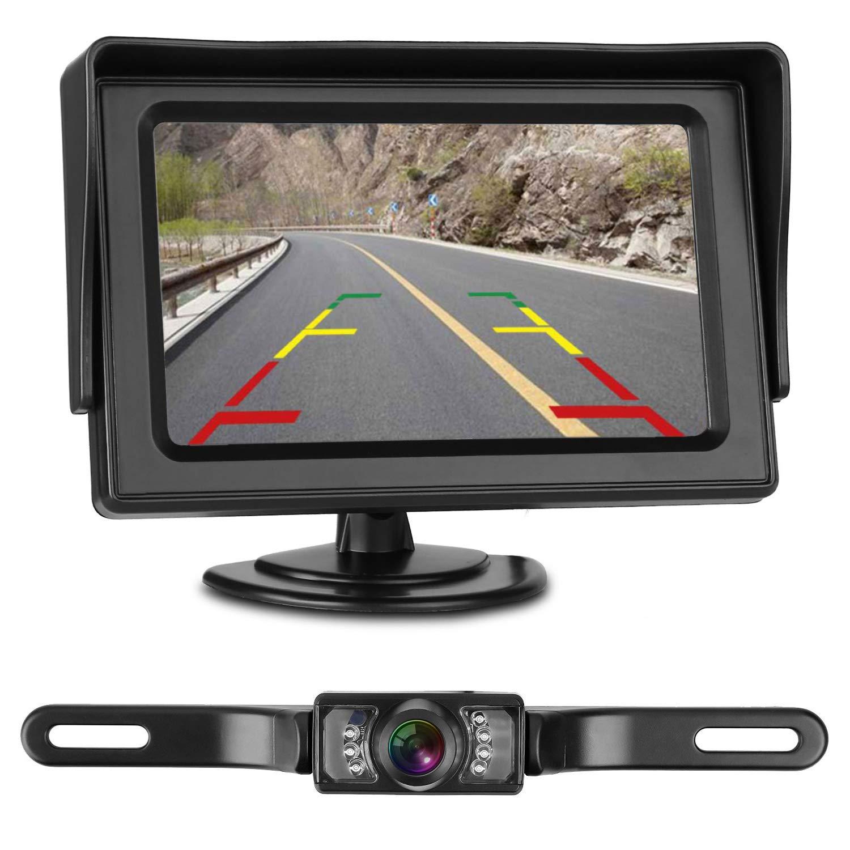 LeeKooLuu Backup Camera and Monitor Kit for Car/RV/Truck/Pickup/Van/Camper  Waterproof Night Vision Rear View Camera Single Power Reverse/Continuous  Use 4.3 ...