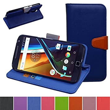 MOTO G4 / G4 Plus Funda,Mama Mouth PU Cuero Billetera Cartera Monedero Con Soporte Funda Caso Case para Motorola Moto G4 / G4 Plus G 4th Generation Smartphone,Azul: Amazon.es: Electrónica