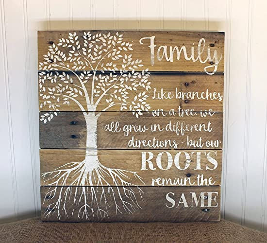 Family Tree Quote Reclaimed Wood Pallet Sign Home Decor 16x17
