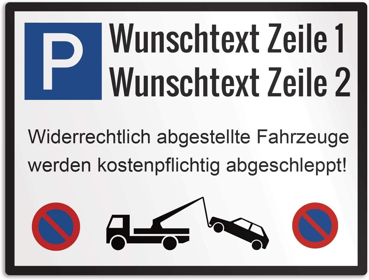 2-Zeiliger Text Querformat 40x30cm Canvarto Parkplatzschild mit Wunschtext Alu-Verbundplatte