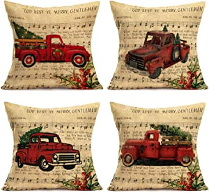 """Asminifor Set of 4 Vintage Christmas Musical Notation Background Cotton Linen Merry Christmas Red Truck Car with Xmas Tree Mistletoe Decorative Throw Pillow Cases Home Sofa Cushion Cover 18"""" x 18""""(CR)"""