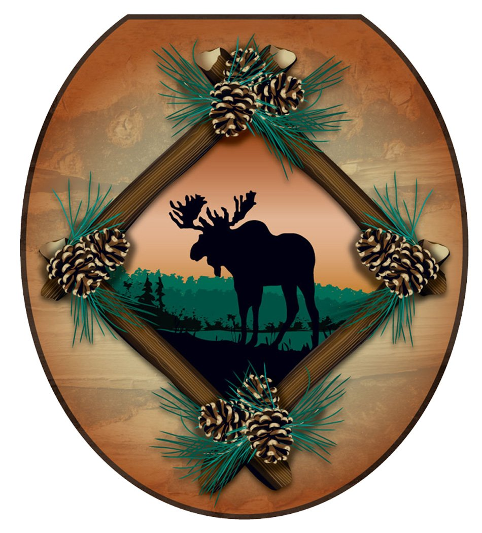 Toilet Tattoos TT-1888-R Moose At Sunset Decorative Applique for Toilet Lid, Round by Toilet Tattoos