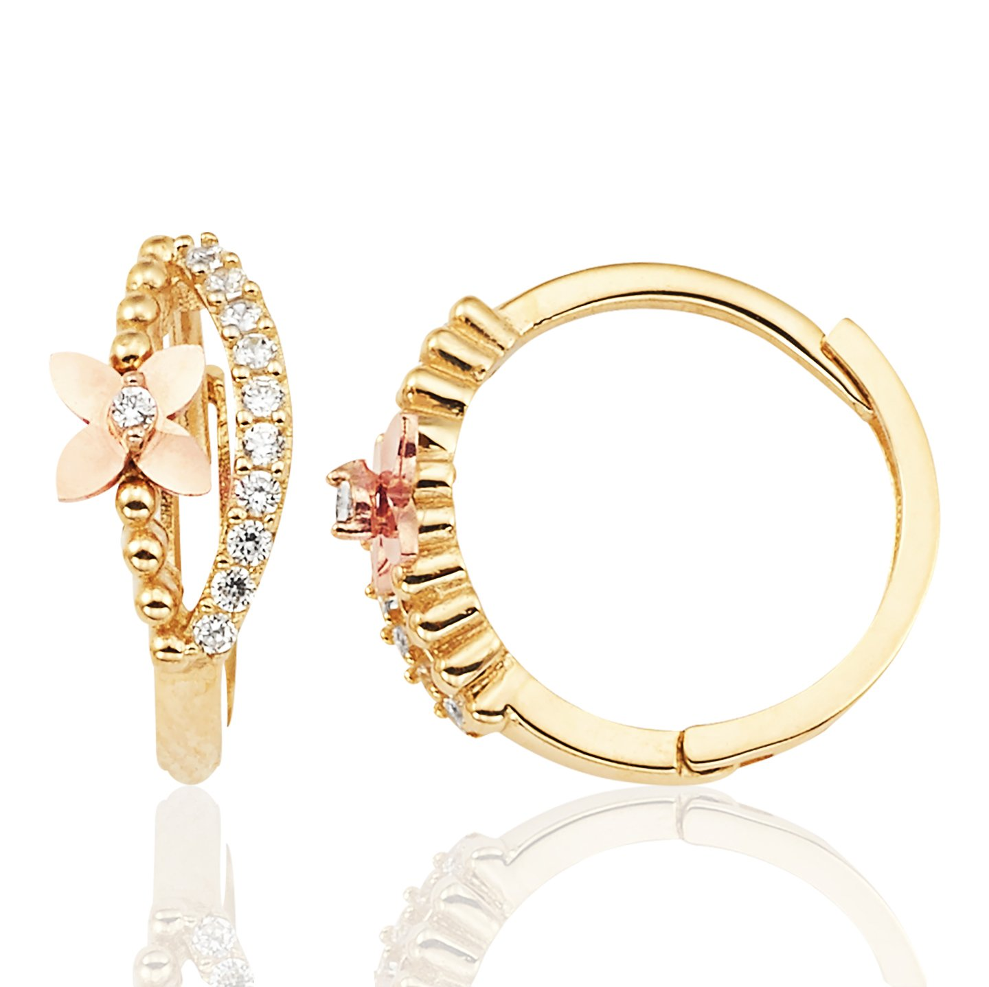 Beautiful Flower Huggie Earrings with CZ in 14K Yellow and Rose Gold for Women and Girls