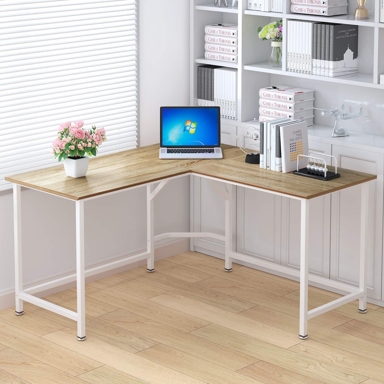 ELEGANT Computer Desk 55 x 55 with 24 Deep L-Shaped Desk Corner Workstation Oak
