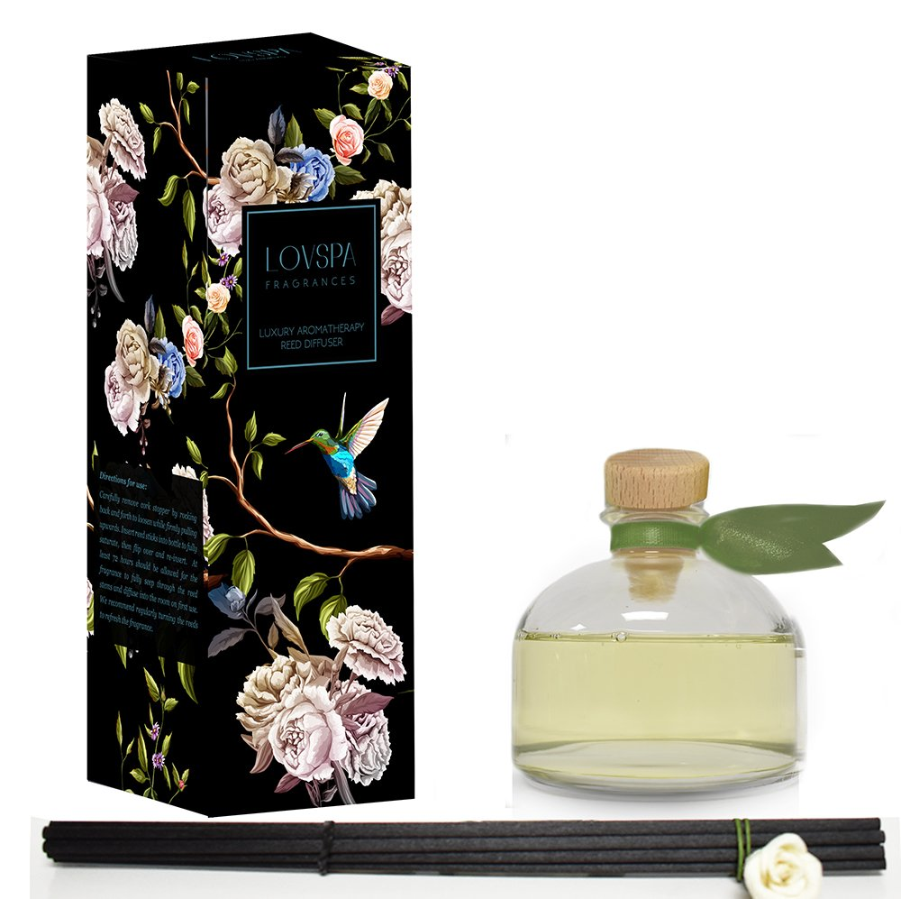 LOVSPA Tranquility Green Tea & Lemon Reed Diffuser | Home Fragrance Scent Diffuser for Kitchen, Bathroom, Bedroom Living Room or Office