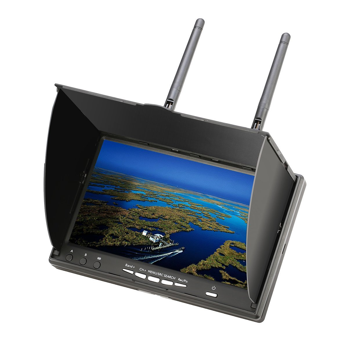 EACHINE LCD5802D TFT LCD FPV Monitor with DVR 5.8G 40CH 7 Inch Screen 800x480 SVG 600 cd /㎡ High Bright OSD Dual Receiver Support NSTC PAL for Car Rear View Backup Camera,CCTV Camera FPV Racing Quad by EACHINE