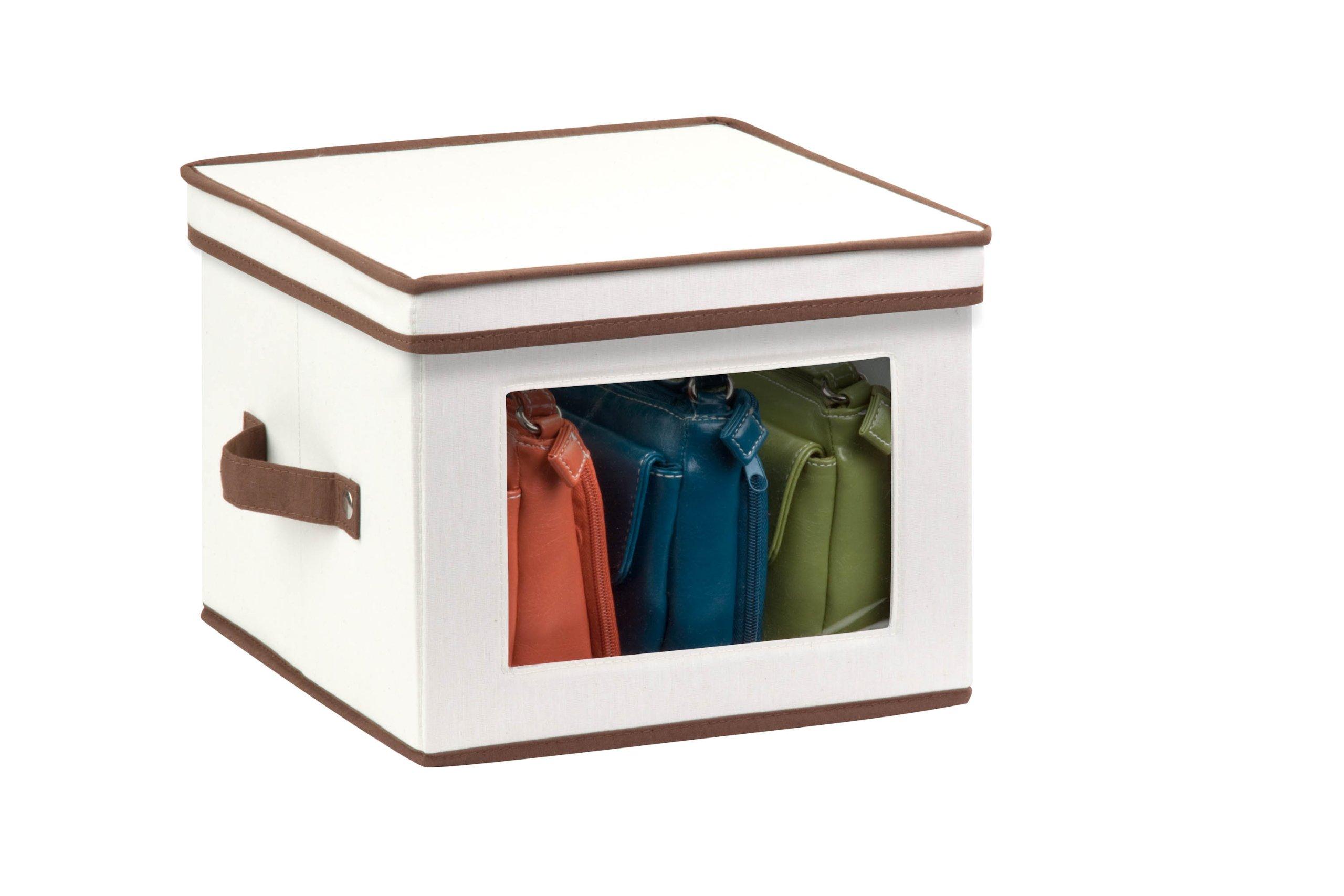 Honey-Can-Do SFT-02063 Natural Canvas Soft Storage Box, Medium Window Box 12x12