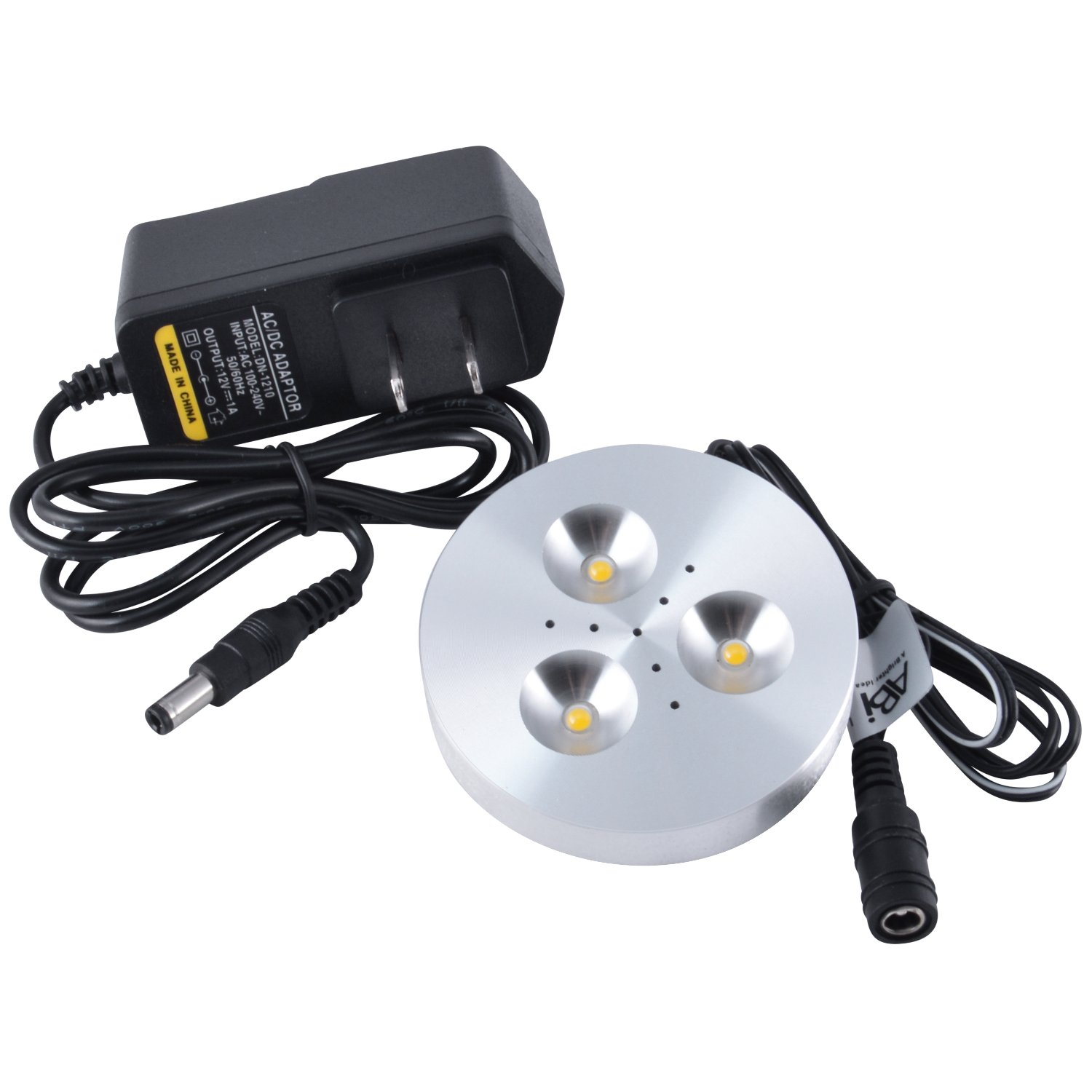 abi 3w led puck light kit with adapter for under cabinet