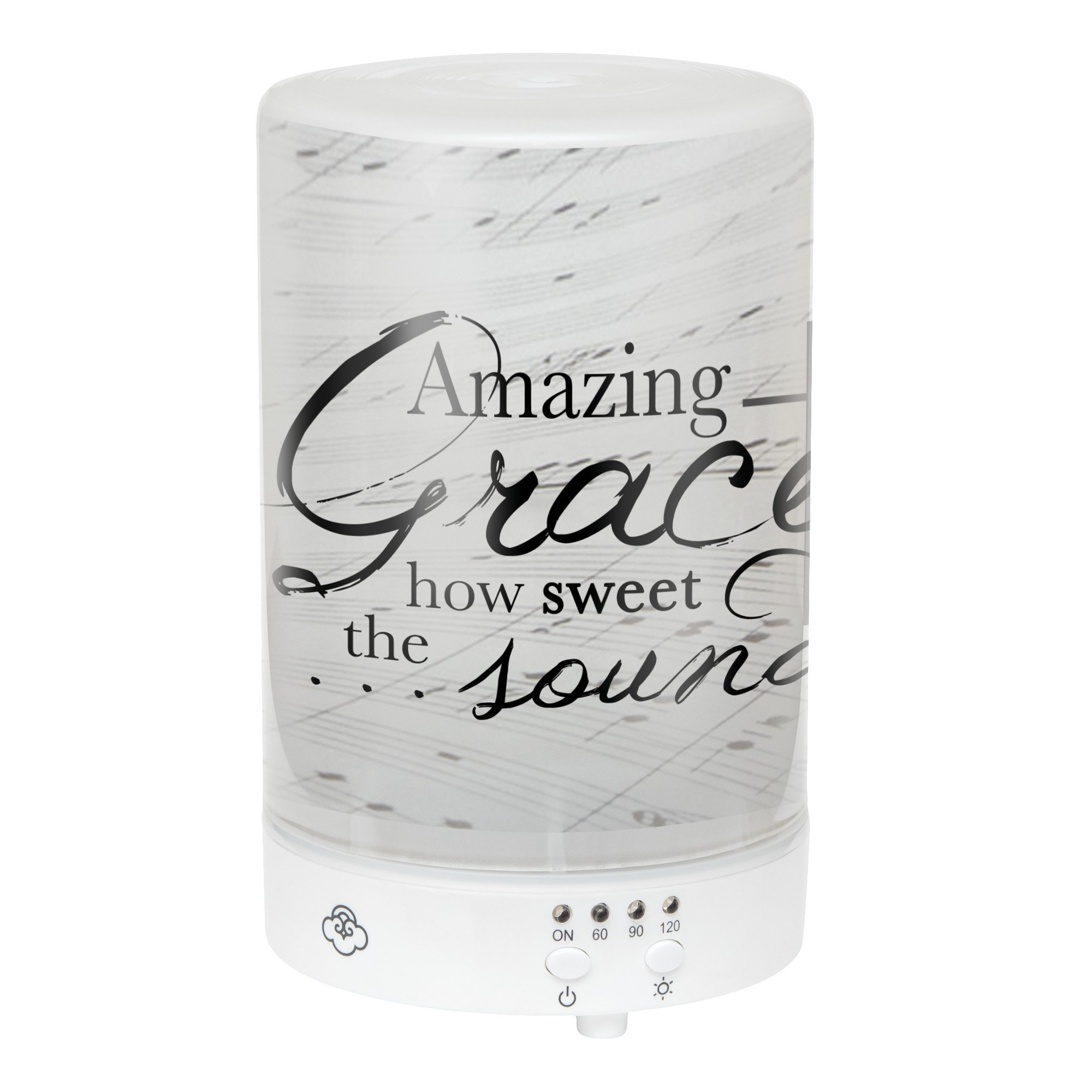 Elanze Designs Amazing Grace How Sweet The Sound Frosted Glass 8 Color LED Light Essential Oil Diffuser by Elanze Designs