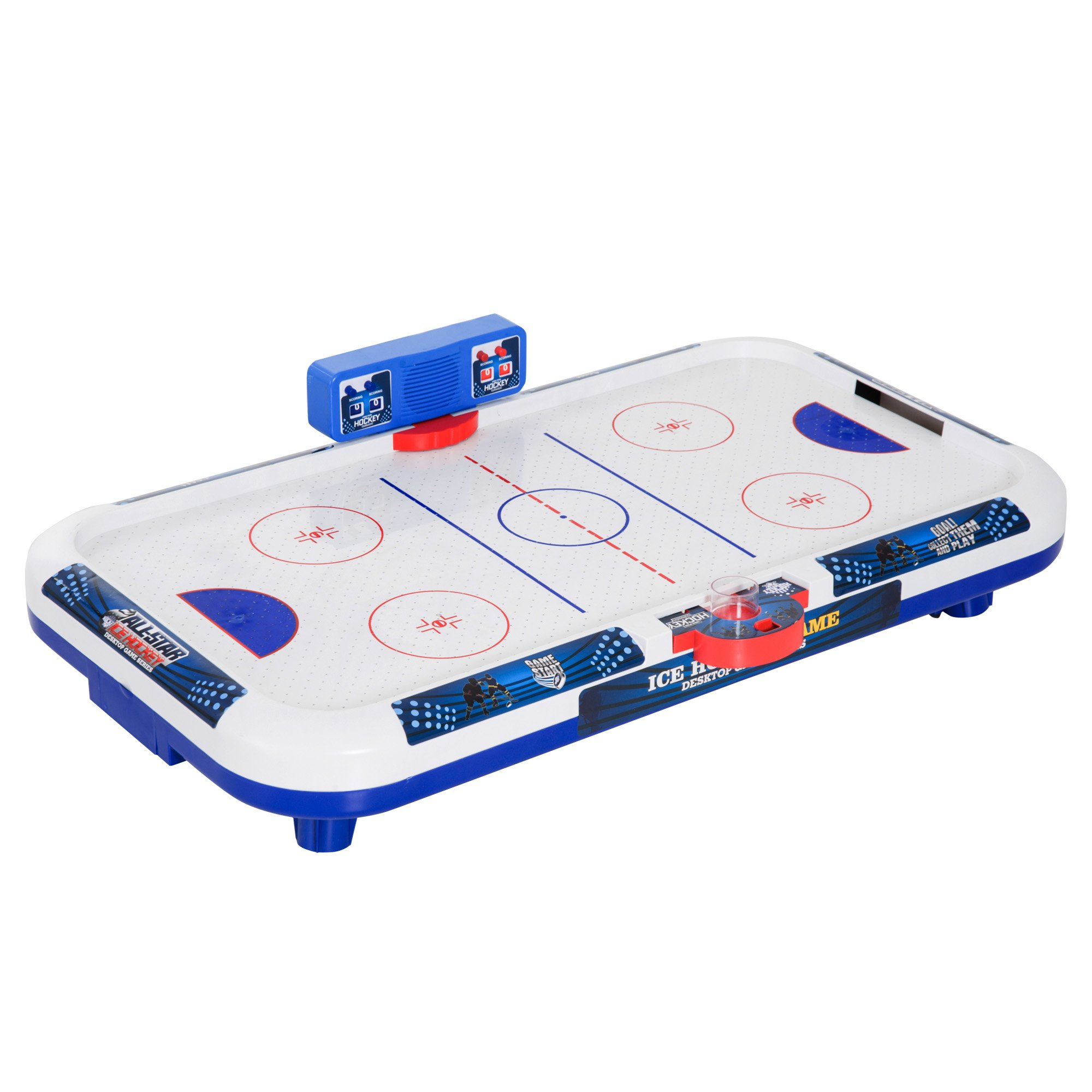 Soozier 40'' Mini Ice Hockey Themed Air Hockey Table Tabletop Game for Kids - White/Blue