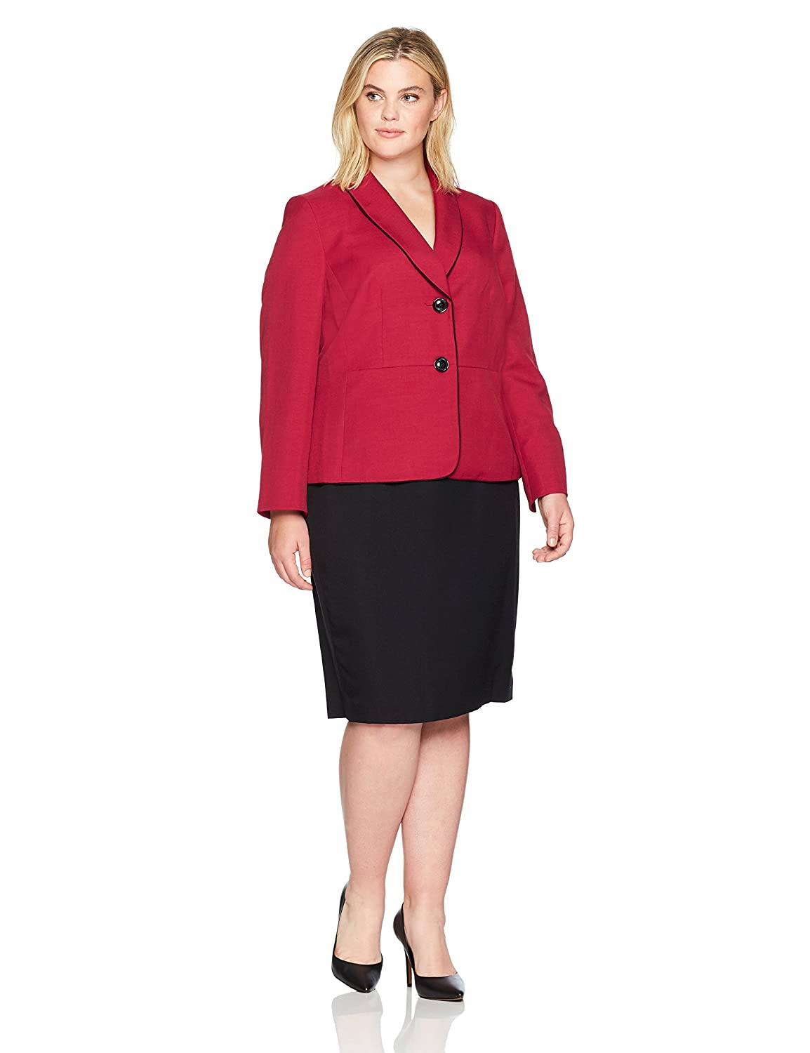 Le Suit Women's Plus Size Glazed Melange Two Button Skirt Le Suit Women's Suits 50036245-1KT