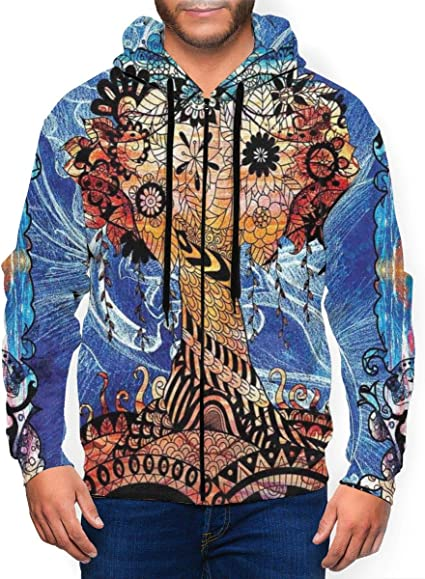 SportsX Mens Floral Print with Hood Sport Big Pockets Long Sleeve Shirt